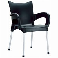 RJ Resin Outdoor Arm Chair Black ISP043
