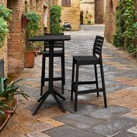 Sky Ares Square Bar Set with 2 Barstools Black ISP1161S