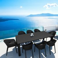 Sky Extendable Dining Set 9 Piece Black ISP1023S
