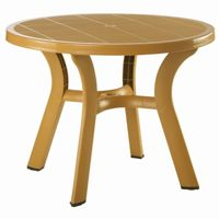 Truva Resin Outdoor Dining Table 42 inch Round Cafe Latte ISP146