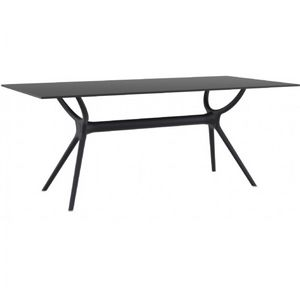 Air Rectangle Outdoor Dining Table 71 inch Black ISP715