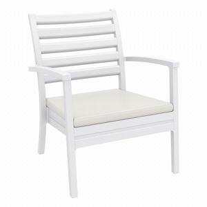 Artemis XL Outdoor Club Chair White with Sunbrella Natural Cushion ISP004