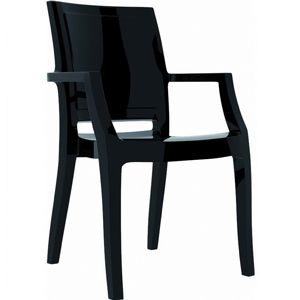 Arthur Glossy Polycarbonate Arm Chair Black ISP053
