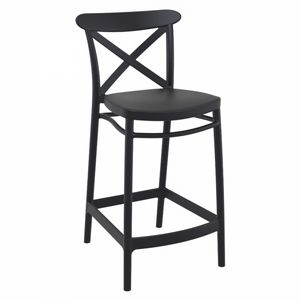 Cross Outdoor Counter Stool Black ISP264