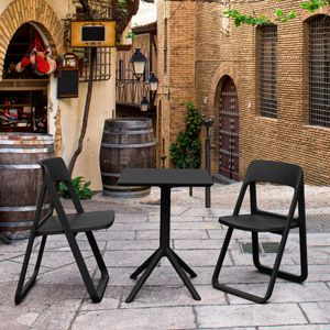 Dream Folding Outdoor Bistro Set with 2 Chairs Black ISP0791S