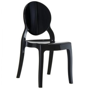 Elizabeth Glossy Polycarbonate Outdoor Bistro Chair Black ISP034