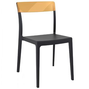 Flash Dining Chair Black with Transparent Amber ISP091
