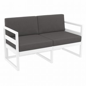 Mykonos Patio Loveseat White with Sunbrella Charcoal Cushion ISP1312