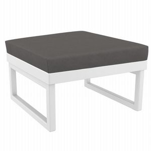 Mykonos Square Ottoman White with Sunbrella Charcoal Cushion ISP137F