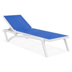 Pacific Stacking Sling Chaise Lounge White - Blue ISP089-WHI-BLU