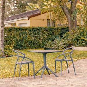 Pia Patio Dining Set with 2 Chairs Dark Gray ISP1067S