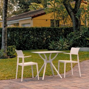 Plus Outdoor Dining Set with 2 Arm Chairs White ISP7004S