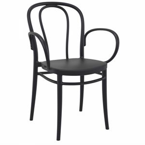 Victor XL Resin Outdoor Arm Chair Black ISP253