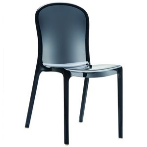 Victoria Clear Plastic Outdoor Bistro Chair Black ISP033