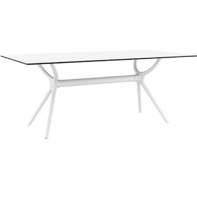 Air Rectangle Outdoor Dining Table 71 inch White ISP715-WHI