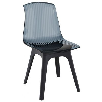 Allegra PP Dining Chair Black with Transparent Black Seat ISP096-BLA-TBLA