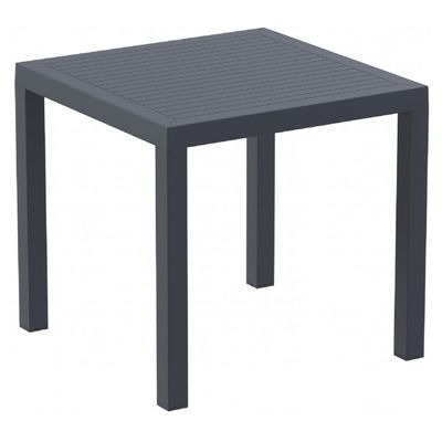 Ares Resin Outdoor Dining Table 31 inch Square Dark Gray ISP164