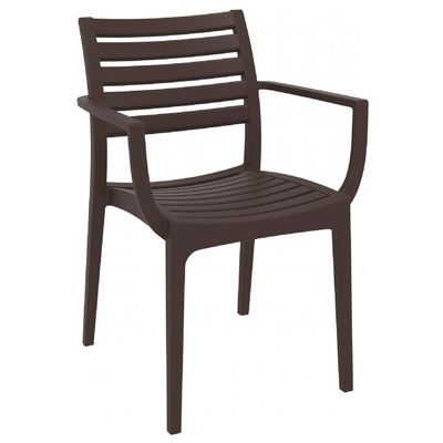 Artemis Resin Outdoor Dining Arm Chair Brown Isp011 Brw