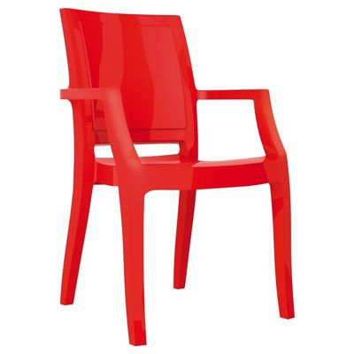 Arthur Glossy Polycarbonate Arm Chair Red ISP053-GRED