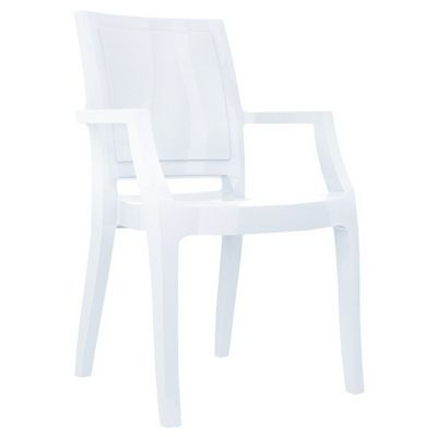 Arthur Glossy Polycarbonate Arm Chair White ISP053-GWHI