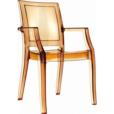 Arthur Transparent Polycarbonate Arm Chair Amber ISP053
