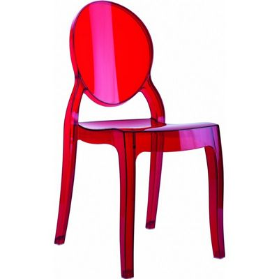 Baby Elizabeth Polycarbonate Kids Chair Transparent Red ISP051-TRED