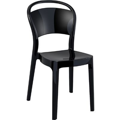 Bo Polycarbonate Dining Chair Glossy Black ISP005-GBLA