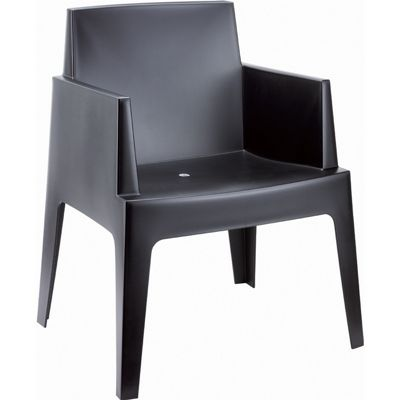 Box Outdoor Dining Chair Black ISP058
