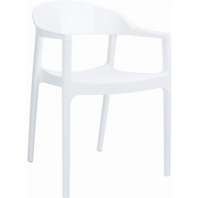 Carmen Dining Armchair White with Glossy White Back ISP059-WHI-GWHI