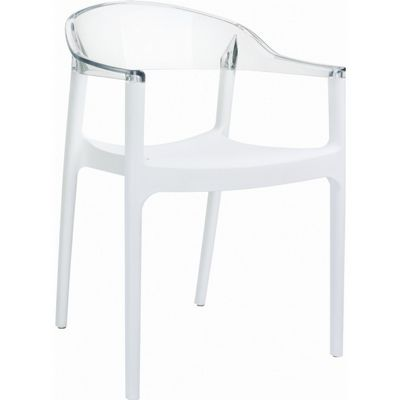 Carmen Dining Armchair White with Transparent Back ISP059-WHI-TCL