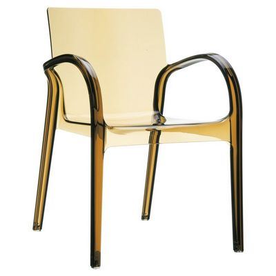 Awesome Dejavu Clear Plastic Outdoor Arm Chair Amber