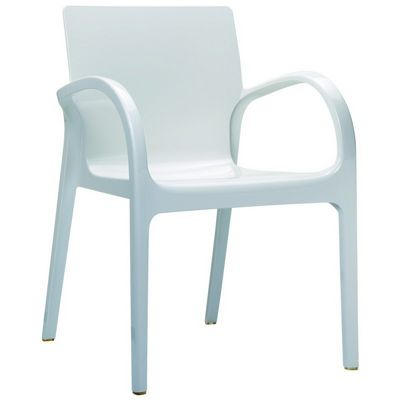 Dejavu Glossy Plastic Outdoor Arm Chair White ISP032