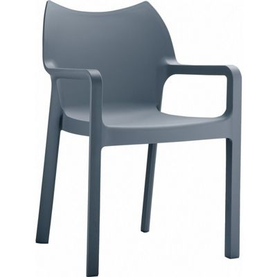 Diva Resin Outdoor Dining Arm Chair Dark Gray ISP028