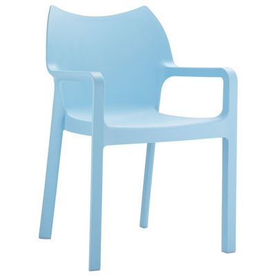 Diva Resin Outdoor Dining Arm Chair Light Blue ISP028