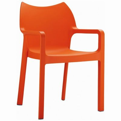 Diva Resin Outdoor Dining Arm Chair Orange ISP028