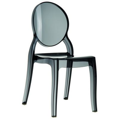 Elizabeth Clear Polycarbonate Outdoor Bistro Chair Black ISP034-TBLA