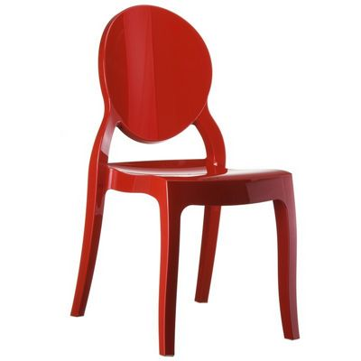 Elizabeth Glossy Polycarbonate Outdoor Bistro Chair Red ISP034
