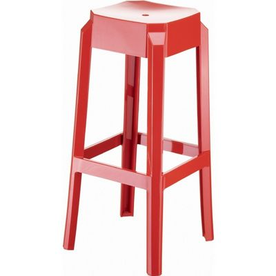 Fox Polycarbonate Outdoor Barstool Glossy Red ISP037-GRED