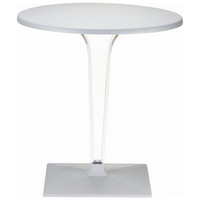 Ice Round Dining Table Silver Gray Top 28 inch. ISP510-SIL