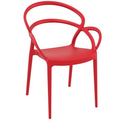 Mila Outdoor Dining Arm Chair Red ISP085-RED