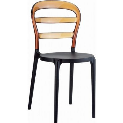 Miss Bibi Chair Black With Transparent Amber Back Isp055
