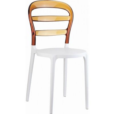 Miss Bibi Chair White with Transparent Amber Back ISP055-WHI-TAMB