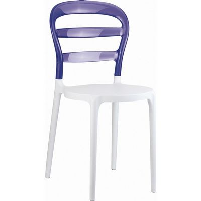Miss Bibi Chair White with Transparent Violet Back ISP055-WHI-TVIO
