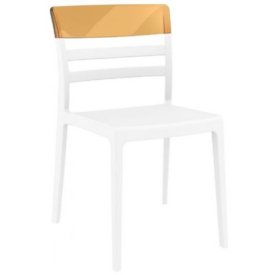 Moon Dining Chair White with Transparent Amber ISP090-WHI-TAMB