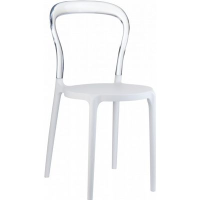 Mr Bobo Chair White with Transparent Back ISP056-WHI-TCL