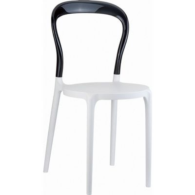 Mr Bobo Chair White with Transparent Black Back ISP056