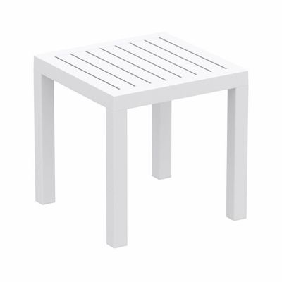 Ocean Square Resin Outdoor Side Table White