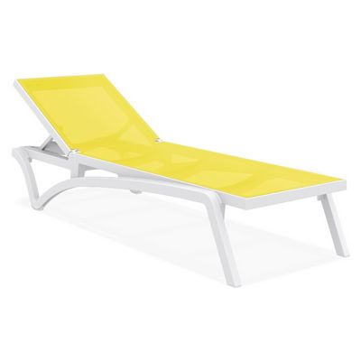 Pacific Stacking Sling Chaise Lounge White - Yellow ISP089-WHI-SYE