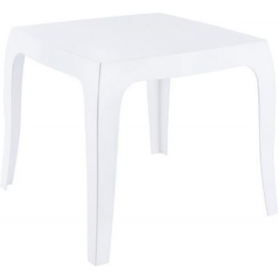 Queen Polycarbonate Square side Table Glossy White ISP065-GWHI