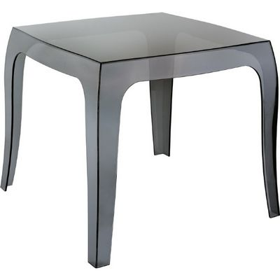Queen Polycarbonate Square side Table Transparent Black ISP065
